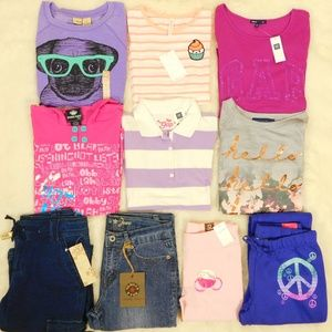 Girl Size 12 Clothes Lot Tops Jeans Sweatshirt NWT